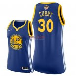 Divise Basket Personalizzate NBA Donna Golden State Warriors 2018 Finale Campioni NO.30 Stephen Curry Blu Icon Patch