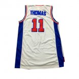 Divise Basket Personalizzate NBA Detroit Pistons NO.11 Isiah Thomas Bianco