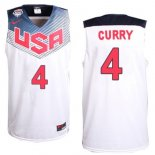 Divise Basket Personalizzate NBA 2014 USA Curry NO.4 Bianco