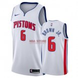 Divise Basket Personalizzate NBA Detroit Pistons NO.6 Bruce Brown Jr Bianco Association 2017/2018