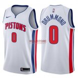 Divise Basket Personalizzate NBA Detroit Pistons NO.0 Andre Drummond Bianco Association 2017/2018
