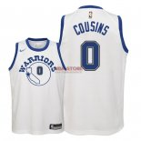 Divise Basket Personalizzate NBA Bambino Golden State Warriors NO.0 DeMarcus Cousins Nike Retro Bianco 2018