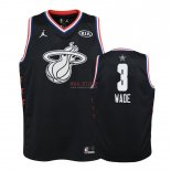 Divise Basket Personalizzate NBA Bambino 2019 All Star NO.3 Dwyane Wade Nero