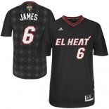 Divise Basket Personalizzate NBA Miami Heat Notti Latine Manga NO.6 James Nero