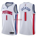 Divise Basket Personalizzate NBA Detroit Pistons NO.1 Reggie Jackson Bianco Association 2017/2018