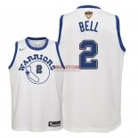 Divise Basket Personalizzate NBA Bambino Golden State Warriors Finale Campioni 2018 NO.2 Jordan Bell Nike Retro Bianco Patch
