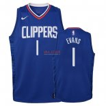 Divise Basket Personalizzate NBA Bambino L.A.Clippers NO.1 Jawun Evans Blu Icon 2018
