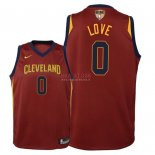 Divise Basket Personalizzate NBA Bambino Cleveland Cavaliers Finale Campioni 2018 NO.0 Kevin Love Rosso Icon Patch