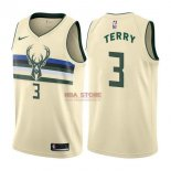Divise Basket Personalizzate NBA Milwaukee Bucks NO.3 Jason Terry Nike Crema Città 2017/2018