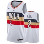 Divise Basket Personalizzate NBA New Orleans Pelicans NO.2 Lonzo Ball Blanc Earned 2019-20