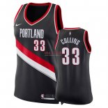 Divise Basket Personalizzate NBA Donna Portland Trail Blazers NO.33 Zach Collins Nero Icon 2018