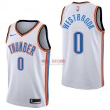 Divise Basket Personalizzate NBA Oklahoma City Thunder NO.0 Russell Westbrook Bianco Association 2017/2018