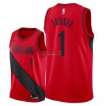 Divise Basket Personalizzate NBA Portland Trail Blazers NO.1 Evan Turner Rosso Statement 2018