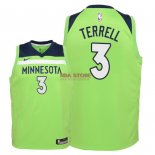 Divise Basket Personalizzate NBA Bambino Minnesota Timberwolves NO.3 Jared Terrell Verde Statement 2018