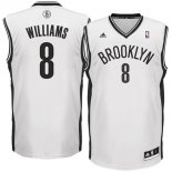 Divise Basket Personalizzate NBA Brooklyn Nets NO.8 Deron Michael Williams Bianco