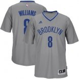 Divise Basket Personalizzate NBA Brooklyn Nets Manica Corta NO.8 Deron Michael Williams Grigio