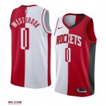 Divise Basket Personalizzate NBA Houston Rockets NO.0 Russell Westbrook Rosso Bianco Split Edition