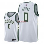 Divise Basket Personalizzate NBA Milwaukee Bucks NO.0 Trevon Duval Bianco Association 2018