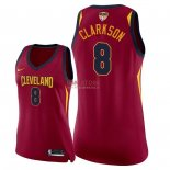 Divise Basket Personalizzate NBA Donna Cleveland Cavaliers 2018 Finale Campioni NO.8 Jordan Clarkson Rosso Icon Patch
