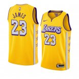 Divise Basket Personalizzate NBA Nike L.A.Lakers NO.23 LeBron James Nike Amarillo Ciudad 2019-20