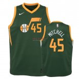Divise Basket Personalizzate NBA Bambino Earned Edition Utah Jazz NO.45 Donovan Mitchell Verde 2018-19