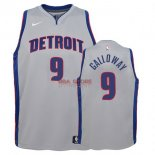 Divise Basket Personalizzate NBA Bambino Detroit Pistons NO.9 Langston Galloway Gris Statement 2017/2018