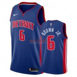 Divise Basket Personalizzate NBA Detroit Pistons NO.6 Bruce Brown Jr Blu Icon 2017/2018