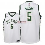 Divise Basket Personalizzate NBA Bambino Milwaukee Bucks NO.5 D.J. Wilson Bianco Association 2018