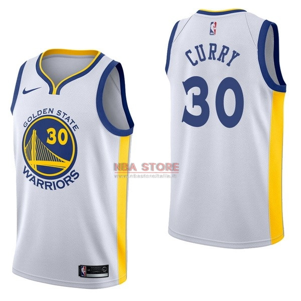 ... Divise Basket Personalizzate NBA Golden State Warriors NO.30 Stephen  Curry Bianco Association 2017  ae27dc1c1d73