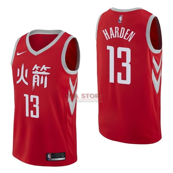 ... Divise Basket Personalizzate NBA Houston Rockets NO.13 James Harden  Nike Rosso Città 2017  aa4ab82c784f