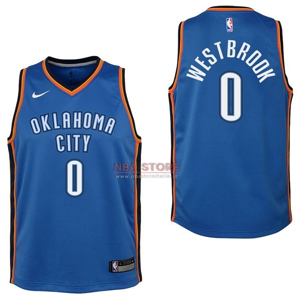 ... Divise Basket Personalizzate NBA Bambino Oklahoma City Thunder NO.0  Russell Westbrook Blu Icon 2017   8aa3d65a4948
