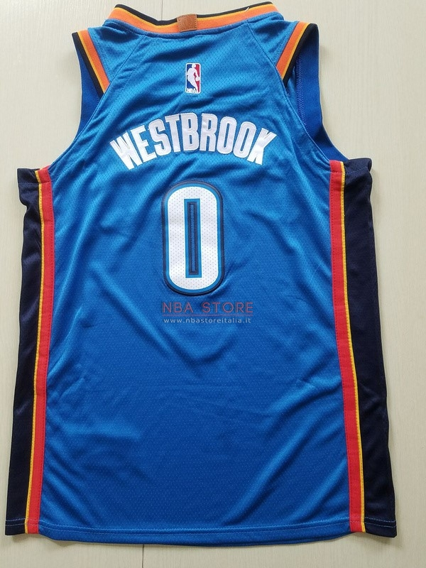 ... Divise Basket Personalizzate NBA Bambino Oklahoma City Thunder NO.0  Russell Westbrook Blu Icon 2017 ... cb01a0cffc51
