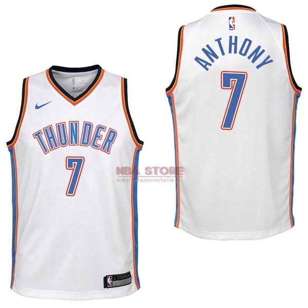 ... Divise Basket Personalizzate NBA Bambino Oklahoma City Thunder NO.7  Carmelo Anthony Bianco Association 2017   9916f63ae713