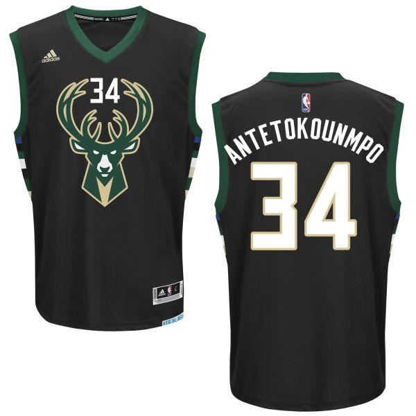 ... Divise Basket Personalizzate NBA Milwaukee Bucks NO.34 Giannis  Antetokounmpo Nero   f9b220ce1c3e