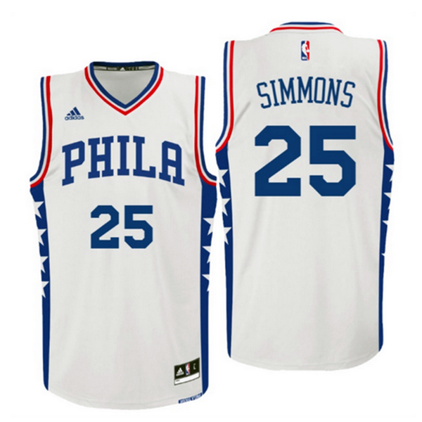 Divise Basket Personalizzate NBA Philadelphia Sixers NO.25 Ben Simmons 2016 Bianco