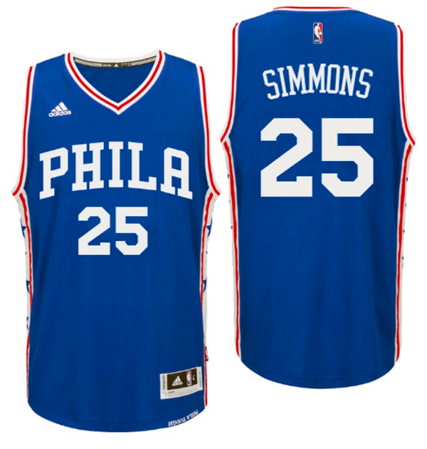 Divise Basket Personalizzate NBA Philadelphia Sixers NO.25 Ben Simmons 2016 Blu