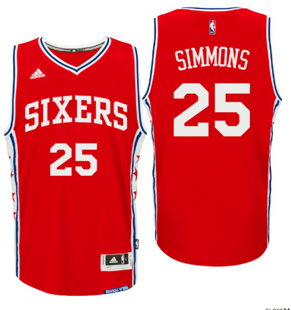 Divise Basket Personalizzate NBA Philadelphia Sixers NO.25 Ben Simmons 2016 Rosso