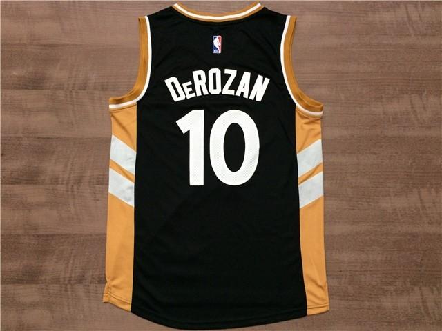 ... Divise Basket Personalizzate NBA Toronto Raptors NO.10 Demar DeRozan  Nero Giallo   437f3cfbef88